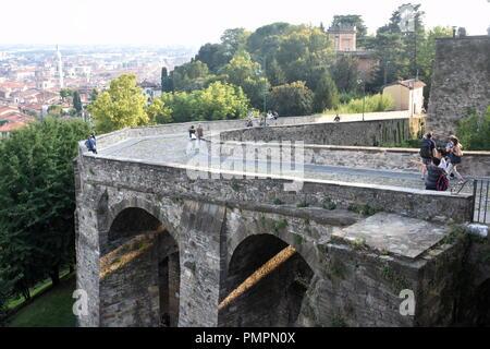Italy, the lovely medieval city of Bergamo.  The  Porta San Giacomo gate to the old town. - Stock Photo