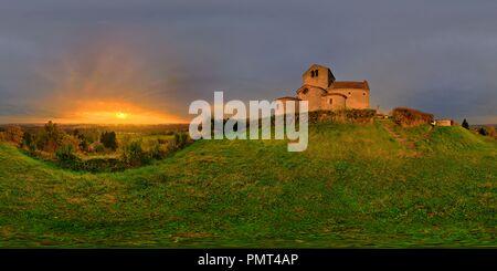 Chatel de Neuvre, foggy sunrise over Allier river and Eglise Saint Laurent 5856 - Stock Photo