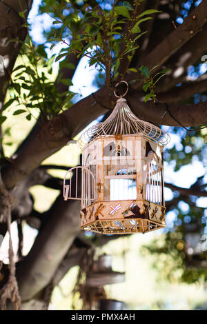 An old oil bird cage with a dragonfly motif hanging in the trees of an urban garden to create a peaceful, relaxing space on a summer's day - Stock Photo