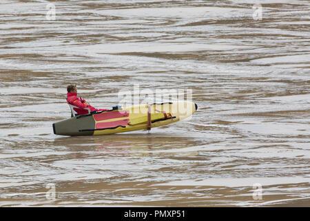 Lifeguard on Poldhu Cove on the Lizard Coast of Cornwall - Stock Photo