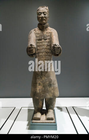 Liverpool William Brown Street World Museum China's First Emperor & The Terracotta Warriors Exhibition Charioteer Qin Dynasty - Stock Photo