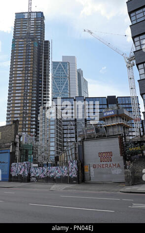 View of Principal Tower residential high rise apartments from Great Eastern Road in London E1 UK  KATHY DEWITT - Stock Photo
