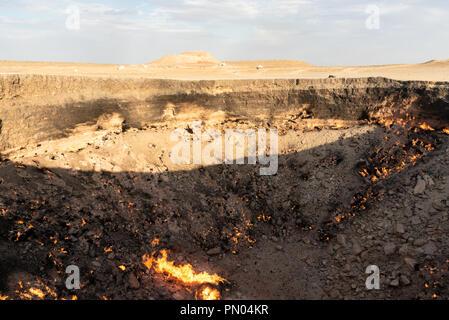 Darvaza (Dereweza) Fire crater in Turkmenistan - Stock Photo