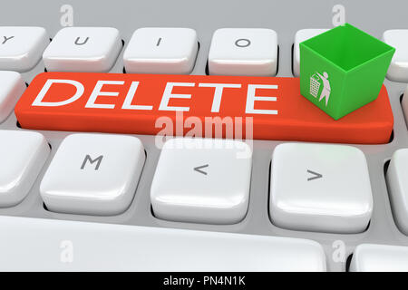Render illustration of computer keyboard with the print DELETE on a red button, and a waste can on that button. - Stock Photo