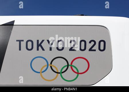 Aarhus, Denmark - August 9, 2018: Olympic rings with Tokyo 2020 on a car - Stock Photo
