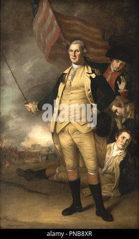George Washington at the Battle of Princeton. Date/Period: 1784. Painting. Oil on canvas Oil on canvas. Height: 237 cm (93.3 in); Width: 145 cm (57 in). Author: Charles Willson Peale. - Stock Photo