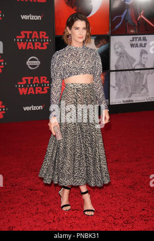 Cobie Smulders at the World Premiere of Lucasfilm's 'Star Wars: The Last Jedi' held at the Shrine Auditorium in Los Angeles, CA, December 9, 2017. Photo by Joseph Martinez / PictureLux - Stock Photo