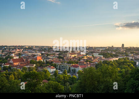 Summer in Vilnius, city center downtown view, Lithuania - Stock Photo
