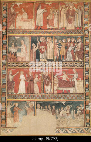 Life of Saint Nicholas. Date/Period: End of 13th century. Painting. Fresco transferred to canvas. Height: 4,560 mm (14.96 ft); Width: 3,065 mm (10.05 ft). Author: Second Master of Bierge. - Stock Photo