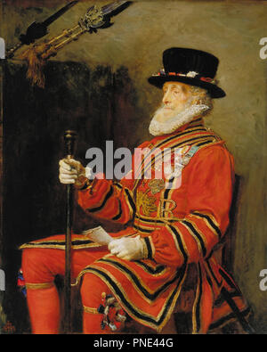 The Yeoman of the Guard. Date/Period: 1876. Painting. Oil on canvas. Height: 139.7 cm (55 in); Width: 111.8 cm (44 in). Author: JOHN EVERETT MILLAIS. MILLAIS, SIR JOHN EVERETT. - Stock Photo