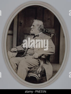 Robert E. Lee. Date/Period: 16 April 1865. Photograph. Albumen print. Height: 208 mm (8.18 in); Width: 152 mm (5.98 in). Author: Mathew Brady. - Stock Photo
