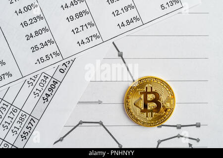 Gold physical Bitcoin on report, price chart and financial records. Crypto currency market growth or drop abstract concept. - Stock Photo