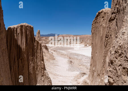 Beautiful desert view through the canyon at Cathedral Gorge State Park in Nevada. Desert beauty - Stock Photo