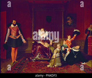 Henri IV (1553-1610) King of France and Navarre Playing with his Children as the Ambassador of Spain Makes his Entrance - 1817 - 39x50 cm - oil on canvas. Author: INGRES, JEAN AUGUSTE DOMINIQUE. Location: LOUVRE MUSEUM-PAINTINGS. - Stock Photo