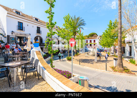 MIJAS TOWN, SPAIN - MAY 9, 2018: Beautiful buildings in picturesque village of Mijas famous for white typical architecture of Andalusia. Spain is seco - Stock Photo