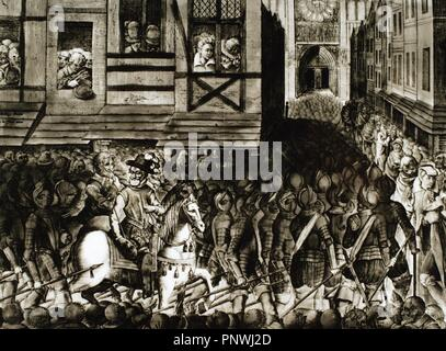 Entrance of Henry IV of France (1553-1610) in Paris, 22 March 1594, with 1.500 cuirassiers. Engraving. - Stock Photo