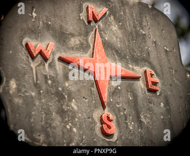 A sign showing cardinal points in red - Stock Photo