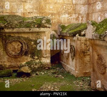 Byzantine Art. Syria. Al Bara (al-kafr). Dead Towns. Northwest Syria. Founded 4th century A.D. Abandoned 12th century A.D. A pyramid-mausoleum. Inside chamber. Sarcophagus. Western Asia. - Stock Photo