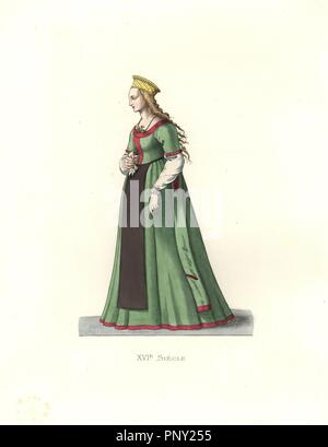 Young woman from Danzig, 16th century, wearing long green silk dress, black apron, and a gold crown. . Handcolored illustration by E. Lechevallier-Chevignard, lithographed by A. Didier, L. Flameng, F. Laguillermie, from Georges Duplessis's 'Costumes historiques des XVIe, XVIIe et XVIIIe siecles' (Historical costumes of the 16th, 17th and 18th centuries), Paris 1867. The book was a continuation of the series on the costumes of the 12th to 15th centuries published by Camille Bonnard and Paul Mercuri from 1830. Georges Duplessis (1834-1899) was curator of the Prints department at the Bibliotheque - Stock Photo