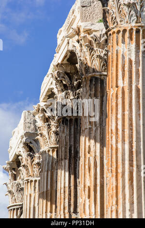 Columns of the Corinthian order, from the Temple of Olympian Zeu - Stock Photo