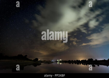 Night photography in Natural Area of Barruecos. Extremadura. Spain. - Stock Photo