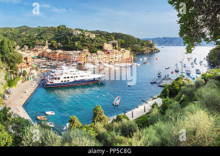 Luxury harbour of Portofino, Liguria, Italy - Stock Photo