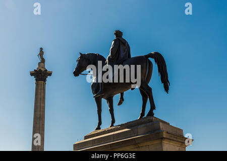 London. September 2018. A view of King Gorge IV statue and nelsons Column in the background in Westminster in London - Stock Photo
