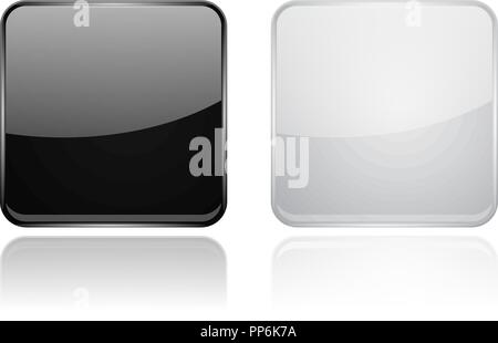 Square glass buttons. Black and white 3d icons - Stock Photo