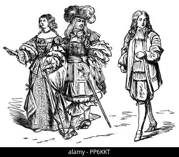 Allongetracht (1650-1720), left: Louis XIV and Maria Theresia, ca. 1660, right: Royal Servant, 1667, anonym  1896 - Stock Photo