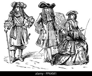 Allongetracht (1650-1720), left: Louis XIV. Since 1670 in warrior costume, middle: Louis XIV. Since 1670, in court dress, right: Elisabeth Charlotte of Orleans in riding dress, anonym  1896 - Stock Photo