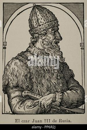 Ivan III of Russia (1440-1505). Grand Prince of Moscow. Engraving of an unknown author. - Stock Photo