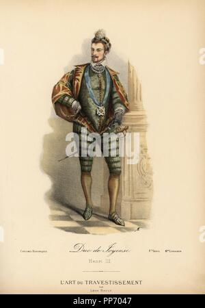 Anne de Batarnay, Duke of Joyeuse, intimate friend of King Henri III of France, 16th century. He wears the Order of the Holy Spirit from a blue ribbon. Handcoloured lithograph by A.E. after a design by Leon Sault from 'L'Art du Travestissement' (The Art of Fancy Dress), Paris, c.1880. Sault was a theatre and opera designer and luxury fashion magazine publisher. - Stock Photo