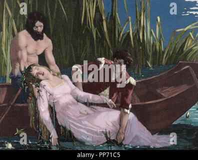 William Shakespeare (1564-1616). English writer. Hamlet. Death of Ophelia. Engraving, 19th century. Colored. - Stock Photo