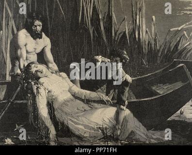 William Shakespeare (1564-1616). English writer. Hamlet. Death of Ophelia. Engraving, 19th century. - Stock Photo