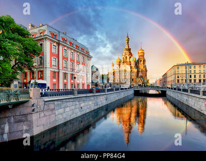 Russia, St. Petersburg - Church Saviour on Spilled Blood with rainbow - Stock Photo