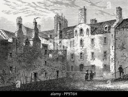 Chessel's Buildings; Chessel's Court, Canongate, Edinburgh, Scotland, 18th century - Stock Photo