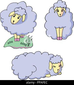 Cute cartoon baby sheep. Standing and sleeping. Adorable little lamb character illustration. - Stock Photo