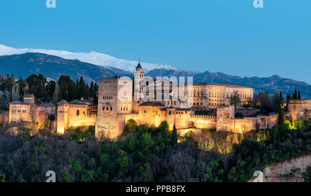 Evening mood, Alhambra on the Sabikah hill, Moorish citadel, Nasrid palaces, Palace of Charles the Fifth - Stock Photo
