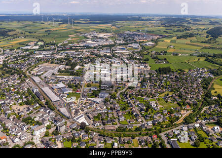 Aerial view, Brilon Center, Brilon, Sauerland, North Rhine-Westphalia, Germany - Stock Photo
