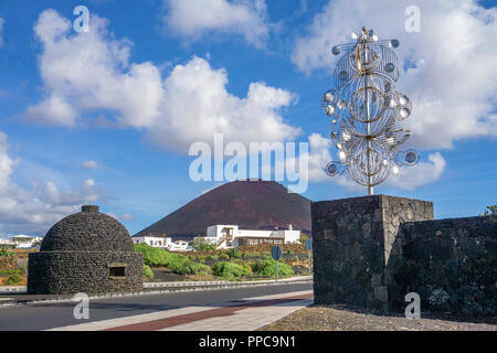 Silver wind chime by Cesar Manrique at Tahiche, Lanzarote, Canary Islands, Spain - Stock Photo