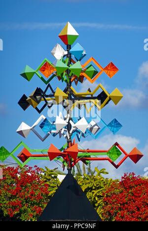 Colorful wind chime in the Fundacion Cesar Manrique, Taro de Tahiche, Tahiche, Lanzarote, Canary Islands, Spain - Stock Photo