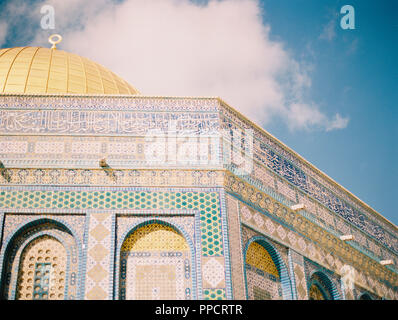 View of ornate architectural details of Dome of the Rock, Jerusalem, Israel - Stock Photo