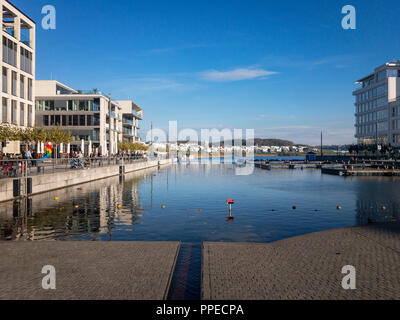 Phoenixsee in Dortmund on a sunny afternoon in autumn - Stock Photo