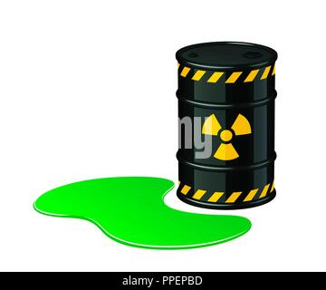 Barrel of toxic waste. Radioactive waste vector illustration isolated on white background - Stock Photo