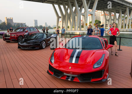 Ferrari 488 Pista, McLaren 720S Sports Cars and Rolls Royce Cullinan SUV on Display at the Singapore F1 Grand Prix 2018 Republic of Singapore Asia - Stock Photo