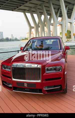 A Rolls Royce Cullinan SUV on Display at The Singapore F1 Grand Prix 2018 at Marina Bay Republic of Singapore Asia - Stock Photo