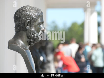 TSARSKOYE SELO, SAINT-PETERSBURG, RUSSIA - JUNE 7, 2015: The Cameron Gallery. The Heraclitus Sculpture. The Tsarskoye Selo is State Museum-Preserve. - Stock Photo