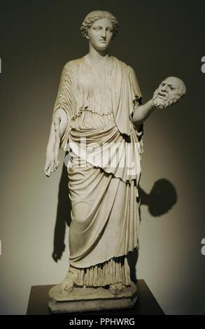 Female deity (kore of Eleusus type), restored as a Muse. Late 2nd century copy of a Greek original of the second half of the 5th century BC. - Stock Photo