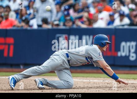 Cody Bellinger. Acciones del partido de beisbol, Dodgers de Los Angeles contra Padres de San Diego, tercer juego de la Serie en Mexico de las Ligas Ma - Stock Photo