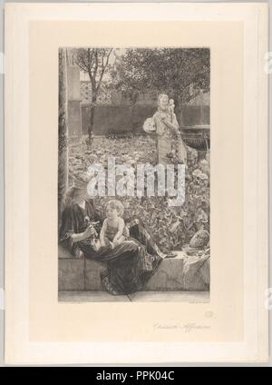 Childish Affections. Artist: After Sir Lawrence Alma-Tadema (British (born The Netherlands), Dronrijp 1836-1912 Wiesbaden). Dimensions: chine collé sheet: 16 3/4 x 11 1/4 in. (42.5 x 28.5 cm)  mounting sheet: 18 11/16 x 13 11/16 in. (47.5 x 34.8 cm). Engraver: Charles Oliver Murray (British, Denholm, Borders, Scotland 1842-1924 Croydon). Publisher: British and Foreign Artists Association (London); Knoedler and Co. , New York. Date: 1883.  A young Roman woman has bathed a baby (a bowl and sponge placed on a ledge), and now offers it a doll. They sit at the edge of a garden filled with poppies,  - Stock Photo